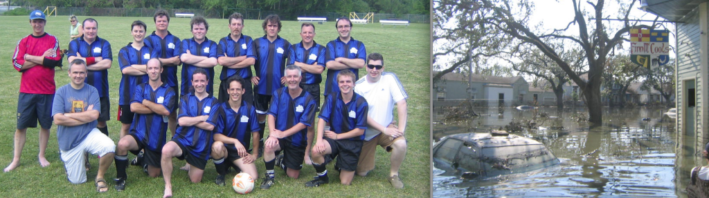 Finn McCool's Football Club is still going strong – author Stephen Rea is front row, third from left; right, Finn McCool's bar under water after Hurricane Katrina struck in 2005