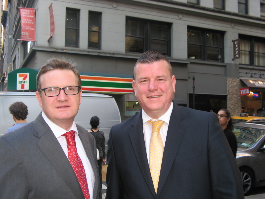 Gareth Graham with his solicitor Niall Murphy in Manhattan yesterday