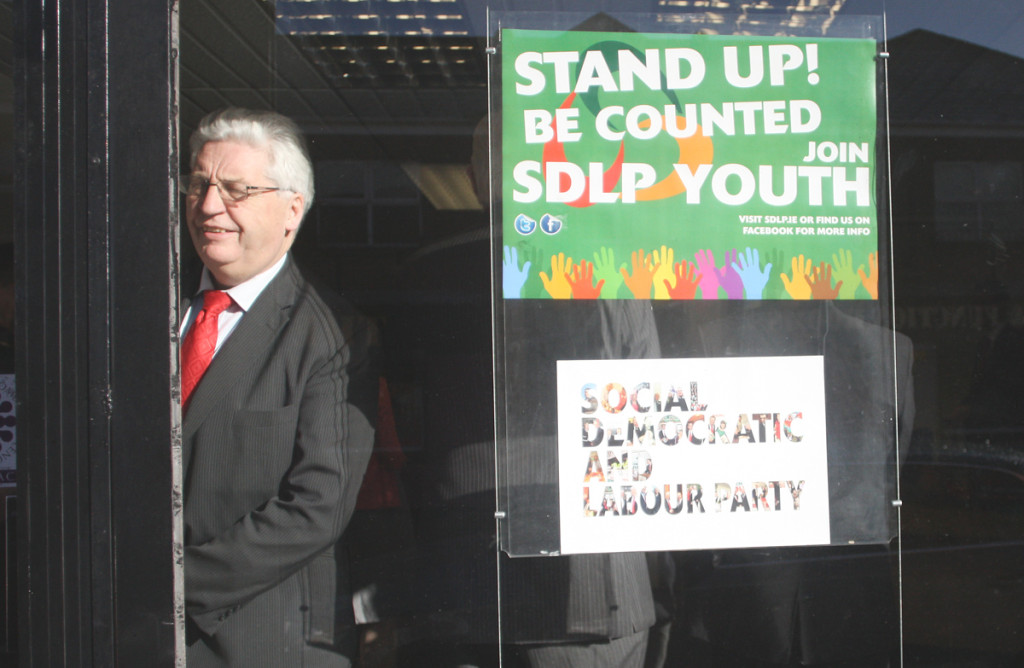 Alasdair McDonnell at yesterday's opening of the new SDLP constituencey office in Glengormley, where he made the controversial remarks
