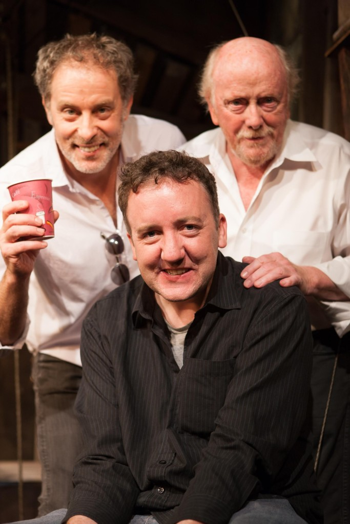 John McManus, front, with the cast of the 'The Quare Land', Rufus Collins, left, and Peter Maloney