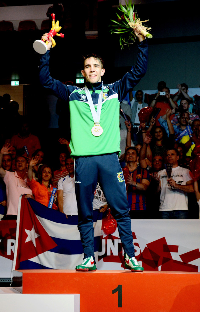 Michael Conlan on the winner's podium in Doha last night after his victory over the hard-hitting Uzbek Murodjon Akhmadaliev