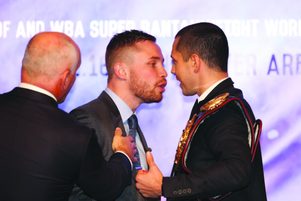 The February 27 Frampton-Quigg bout should be one to savour if yesterday's feisty press conference was anything to go by   Mandatory Credit-Brian Little /Presseye/Cyclone Promotions  Carl Frampton Vs Scott Quigg- Press Tour Wednesday 18th November Grand Ballroom,Europa Hotel,Great Victoria St.Belfast