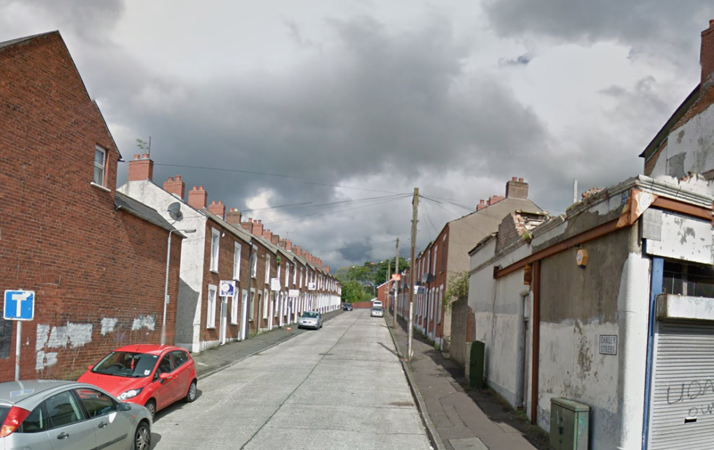 The targeted property is in Oakley Street, off the Crumlin Road