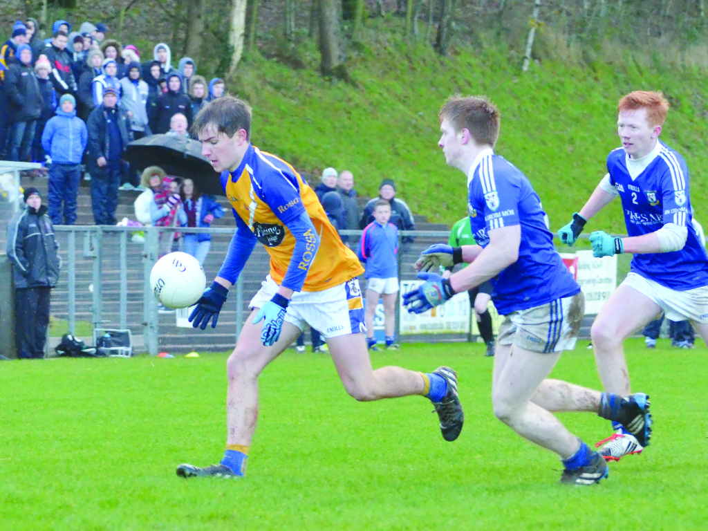 Rossa's hat-trick hero Dominic McEnhill in possession during Sunday's Paul McGirr semi-final