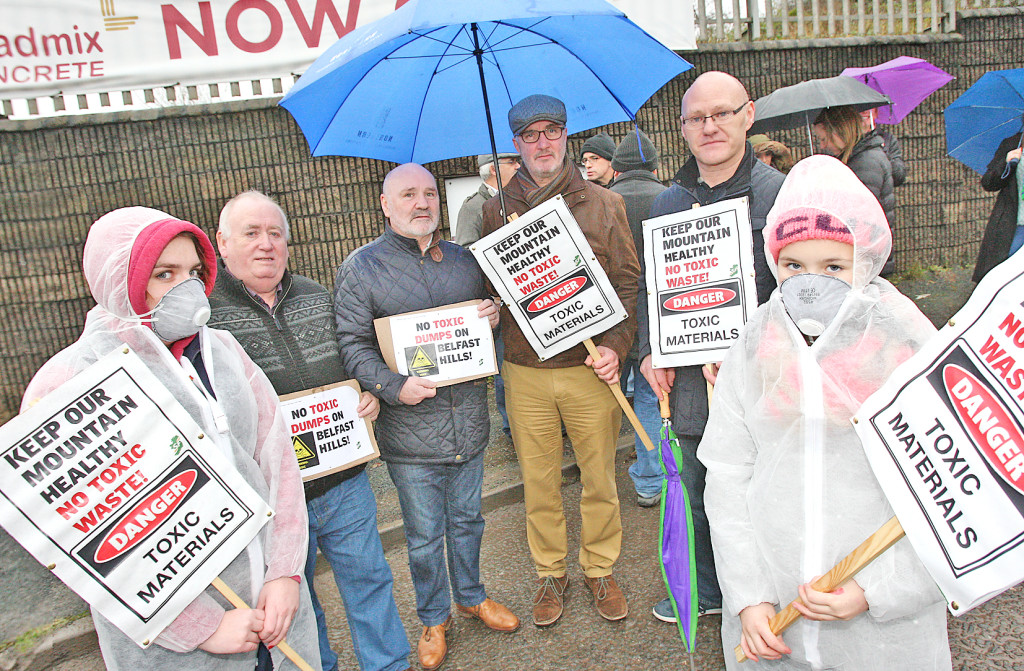 Protesting last month against the proposed quarry on the Black Mountain