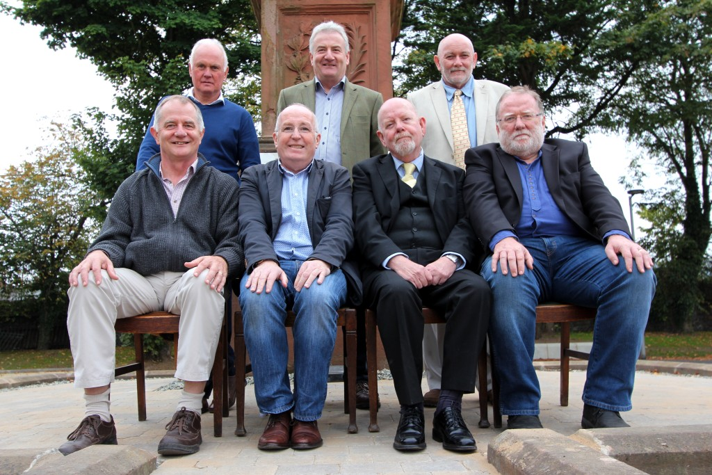 Former altar boys at Holy Cross reunited after 40 years are top row (l-r): Sean O'Neill, Brian McKee, Brendan O'Connor; bottom row: Sean Goan, Gerry Murray, Gerard McGuigan, Cathal Goan