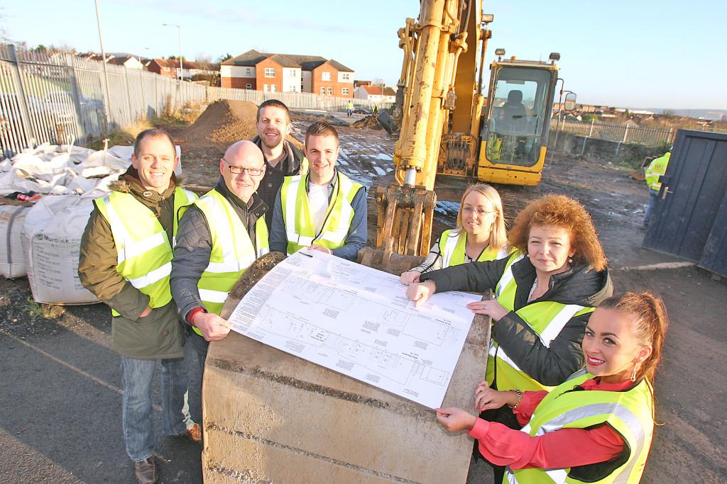 Feargal Mac Ionnrachtaigh, Conchur  Ó Muadaigh and Orliath Mhic Leannain of Glór na Móna with Ciarán Mac Giolla Bhein, director of Glór na Móna, Paul Maskey MP and Minister Carál Ní Chuilín