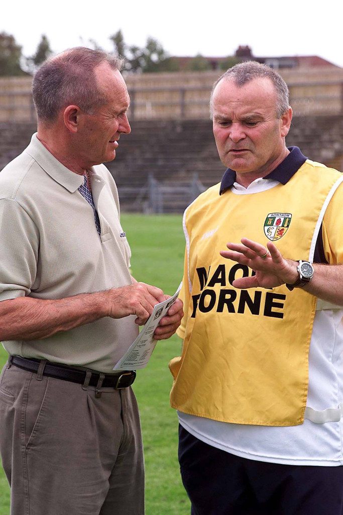 Joe Edwards (right) with former Antrim hurling manager Jim Nelson