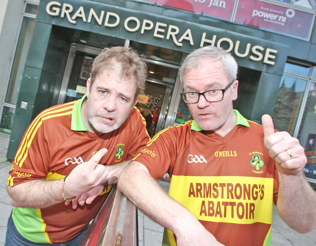 Alan McKee (left) and Conor Grimes in their tasteful St Mungo's Luganulk jerseys