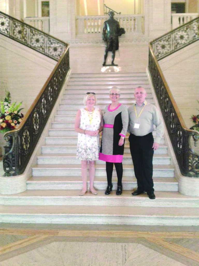 Conor Bradley and his sister Gabrielle with  South Down MLA Margaret Ritchie at Stormont