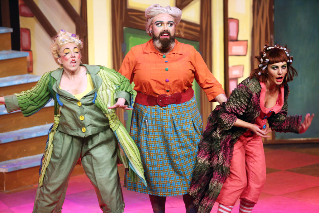 Ross Anderson-Doherty, centre, as Nanny Magee, with ugly sisters Rachel Murray and Kerri Quinn