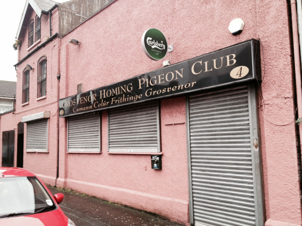 The Grosvenor Homing Pigeon Society clubrooms in Iveagh Street, where two men were shot yesterday afternoon
