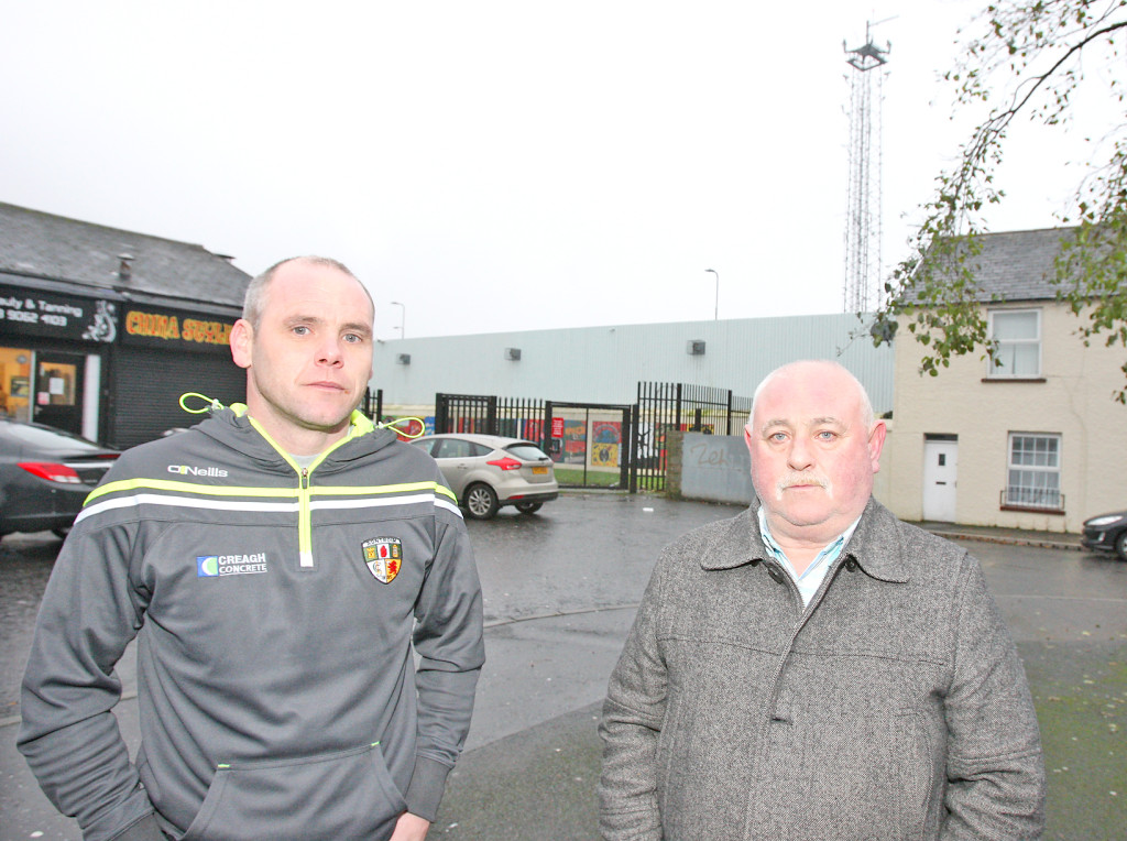 Martin Black and Sean Lennon of the Greater Andersonstown Safety Neighbourhood Project at Suffolk shops where large groups of youths gathered at the weekend