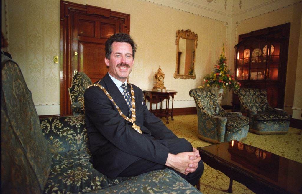Alban Maginness in the Lord Mayor's parlour after he became the first nationalist to take the position in 1997