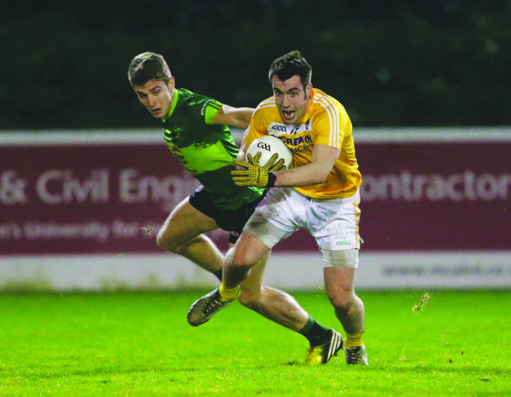 Picture credit © Matt Mackey - Presseye.com  Belfast - Northern Ireland - 6th January 2016  Bank of Ireland Dr McKenna Cup, QUB v Antrim at The Dub, Belfast.  QUB Shea Heffron in action with Antrim's Kevin Niblock.