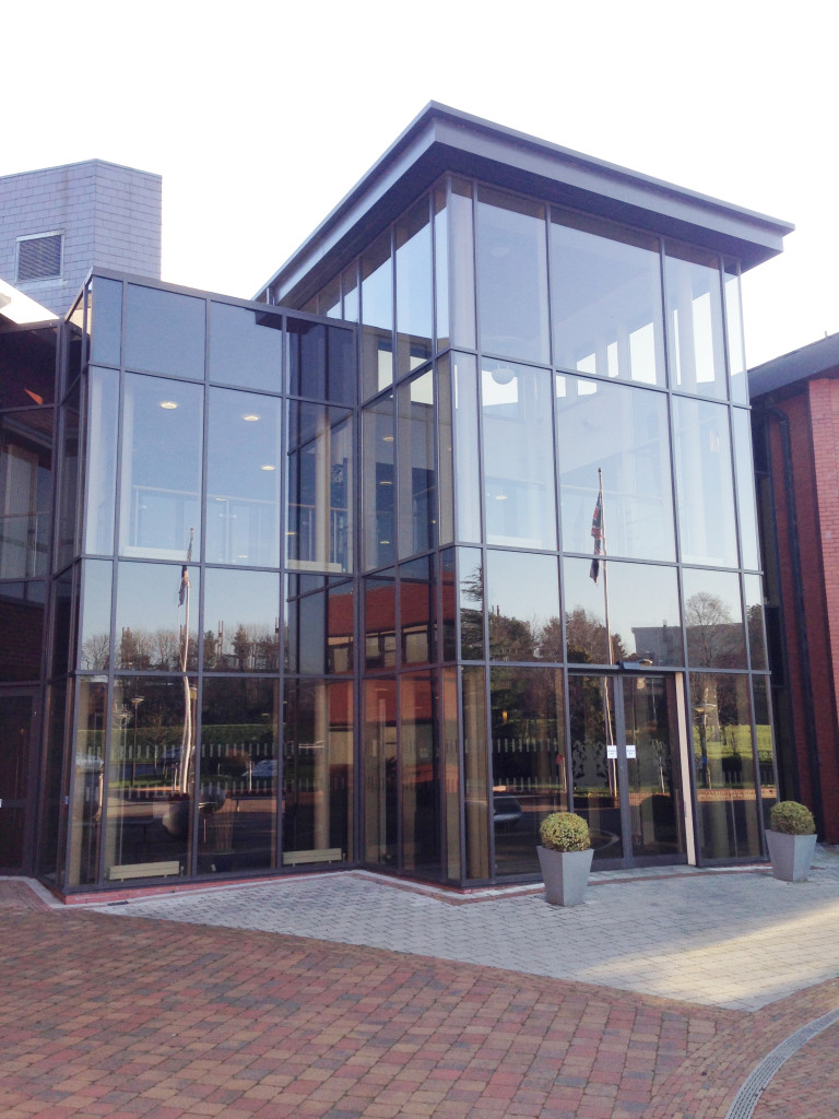 The modern façade of Craigavon Conference and Civic Centre reflects the ubiquitous union flag