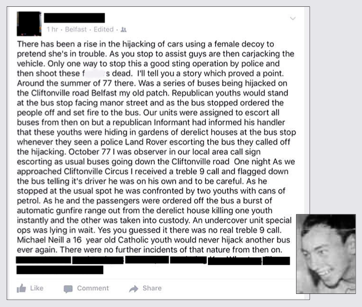 A screenshot of the now-deleted Facebook page on which the British army ambush claim is made and, inset, Michael Neill