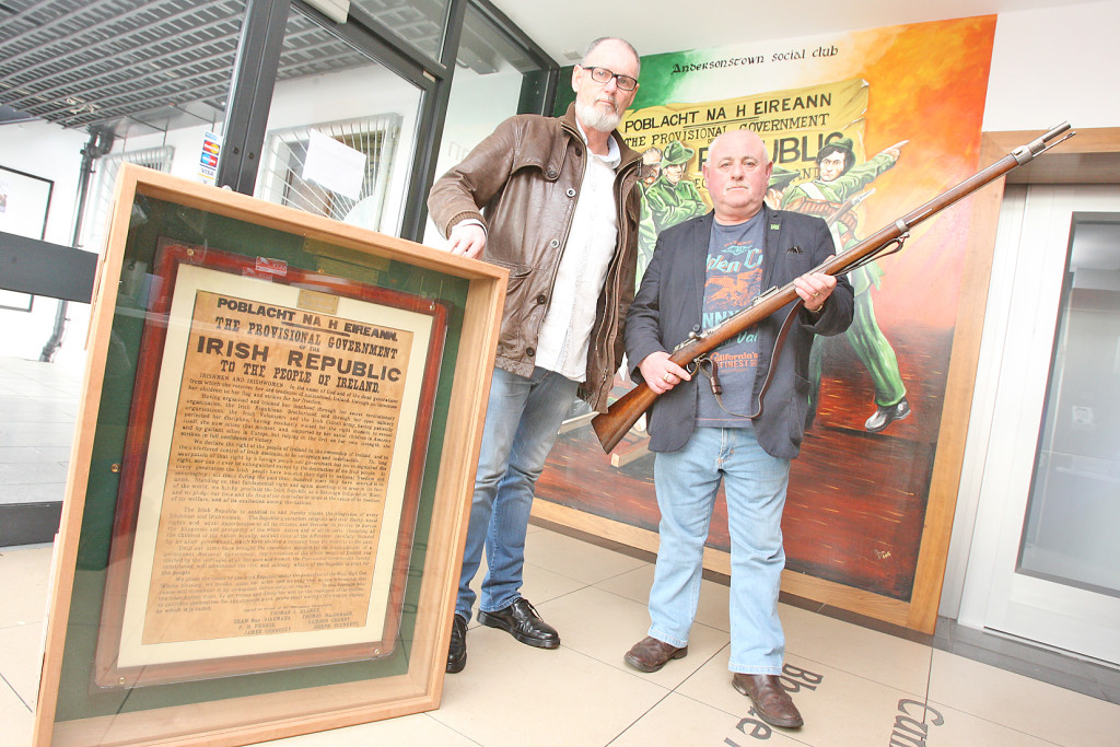 Pat O'Hagan and Seán Lennon with some of the items on display