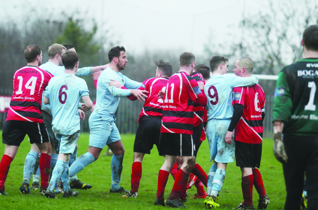 Tempers spill over after Institute are awarded an extra-time penalty on Saturday