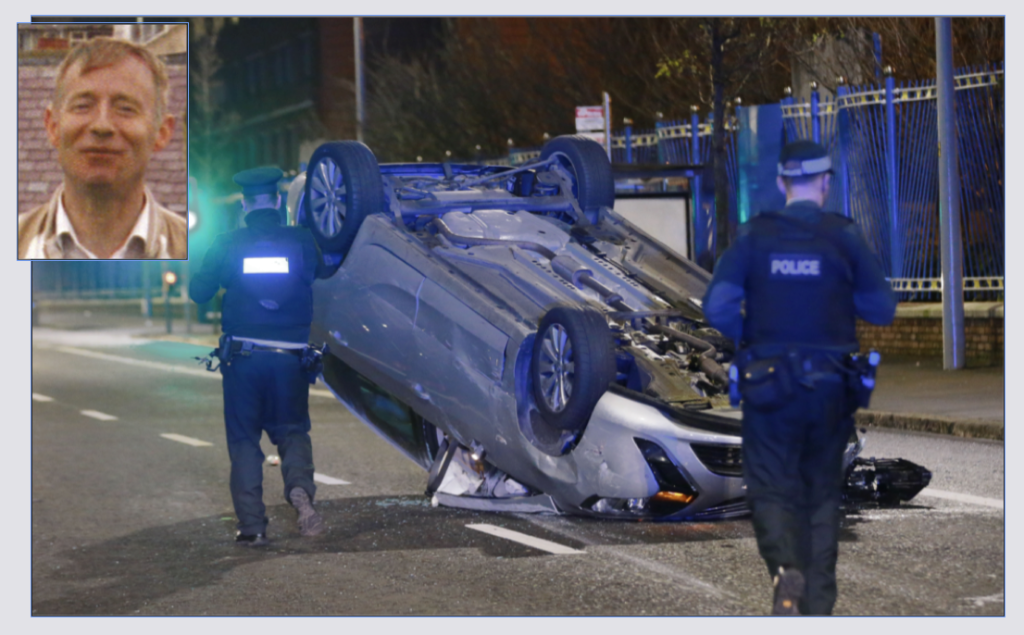 The overturned car on the Falls Road on Monday night; inset, Anthony McKeever who died at the same spot in 1993 after being hit by a stolen car