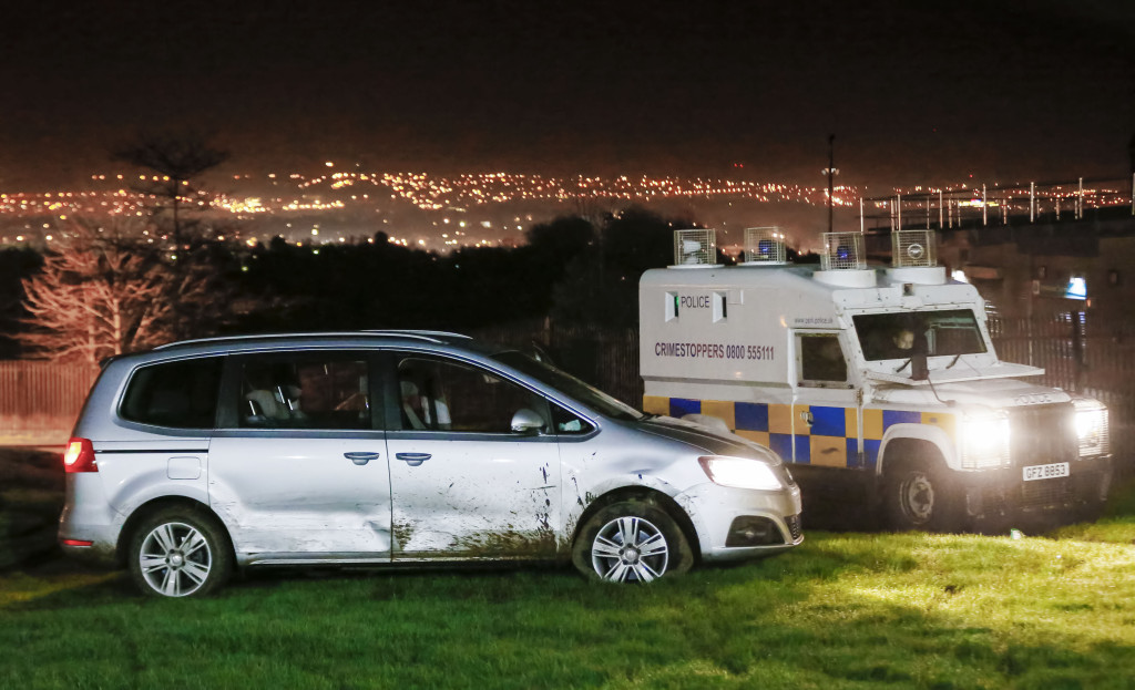 The Seat Alhambra stolen in Dunmurry collided with two police vehicles
