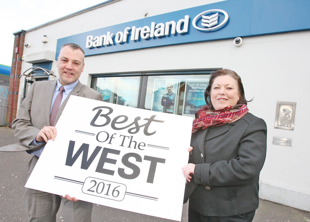 Best of the West 2016. Michael Pucci from the Bank of Ireland in Andersonstown with Jacqueline O'Donnell of the Belfast Media Group. 112mj16