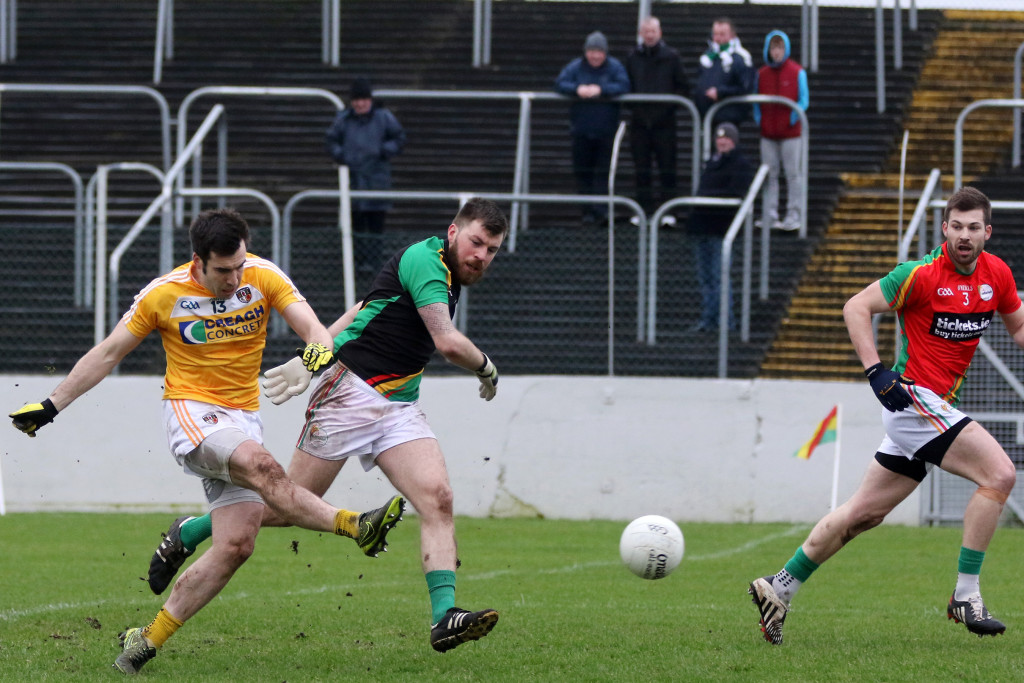 Kevin Niblock shoots the only goal of the game – the inspirational Antrim captain is an injury doubt for Sunday's clash with Wexford