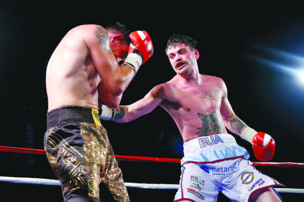 Tyrone McKenna takes on Arvydas Trizno in Dublin on Friday  Picture -  Kevin Scott / Presseye