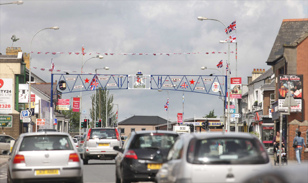 The flag-bedecked Glengormley arch which remains in place for around four months