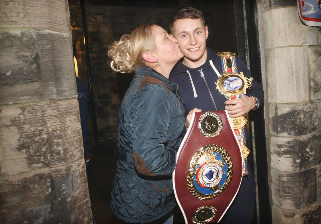 Ryan Burnett with his mum Bernadette at their Newington home following his latest victory