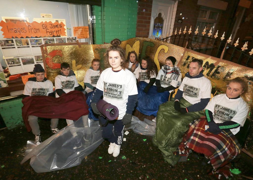 Gemma Dillon, with Ryan Strong, Caitlin Kane, Connell Devine, Laura Austin, Bronagh Austin, Cora Burns, Aimee Webb and Arthur Lamczyk of St James' Forum