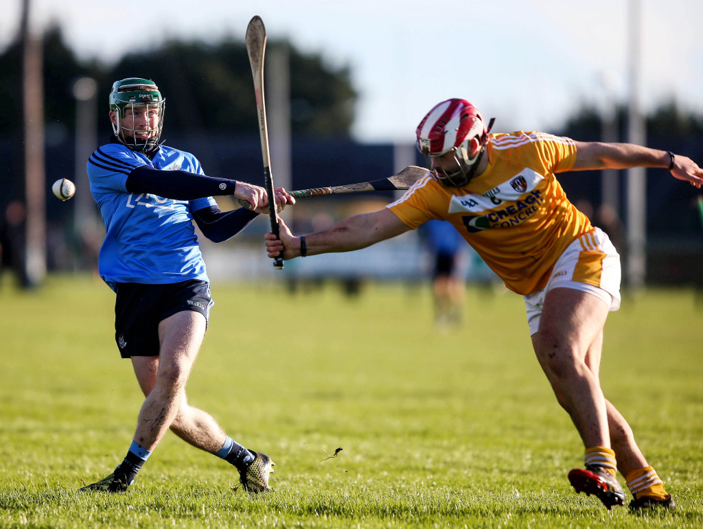 Antrim's Ciaran Johnston, pictured in action against Dublin's Ben Quinn in the Walsh Cup last month, says ther Saffrons won't be taking the challenge of Kildare lightly this Sunday.