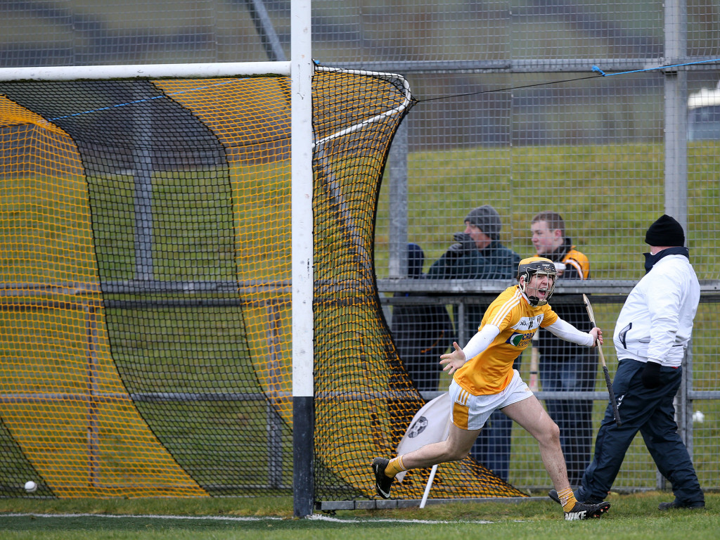 Antrim's Saul McCaughan wheels away to celebrate after the second of his two goals against Kildare    Pic by John McIwaine, Press Eye