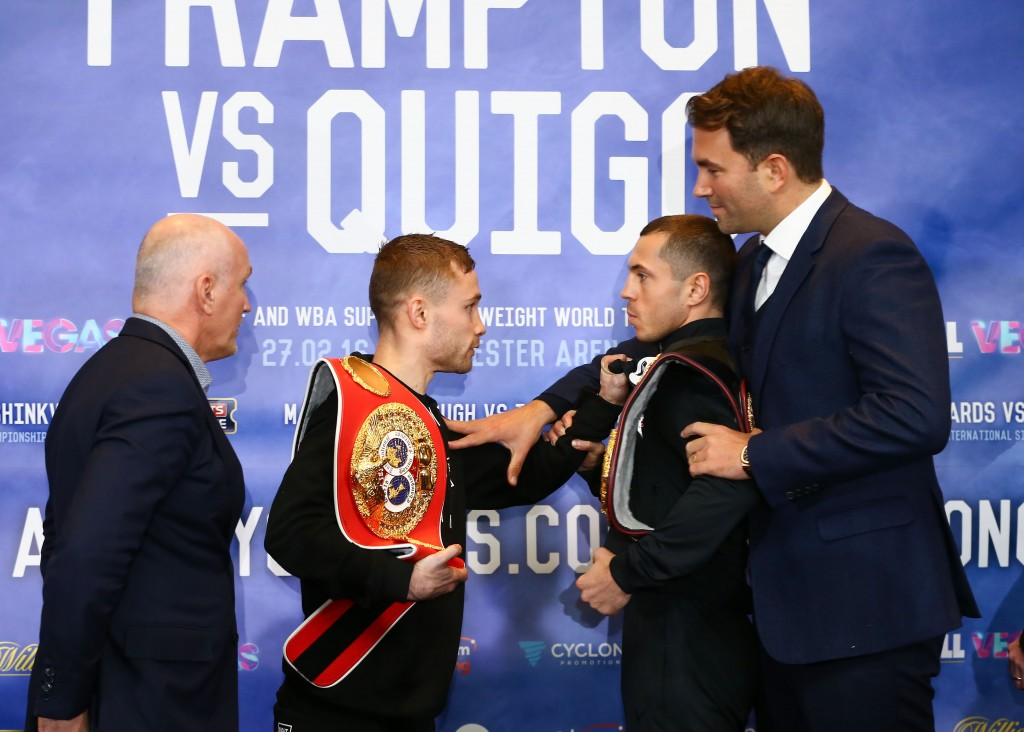 Things get tense between Carl Frampton and Scott Quigg at Thursday's press conference in Manchester