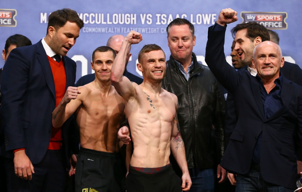 Carl Frampton and Scott Quigg pictured at Fridays weigh-in at the Manchester Arena ahead of Saturday nights World Super-Bantamweight unification clash.