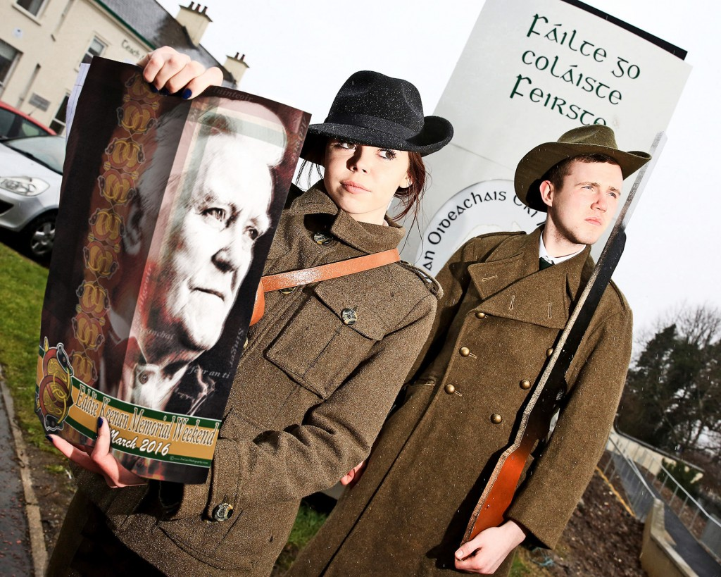 Shauna de Brun (Margaret Skinnider) and Conall Ó Corra (Pádraig Pearse) in the new production 1916