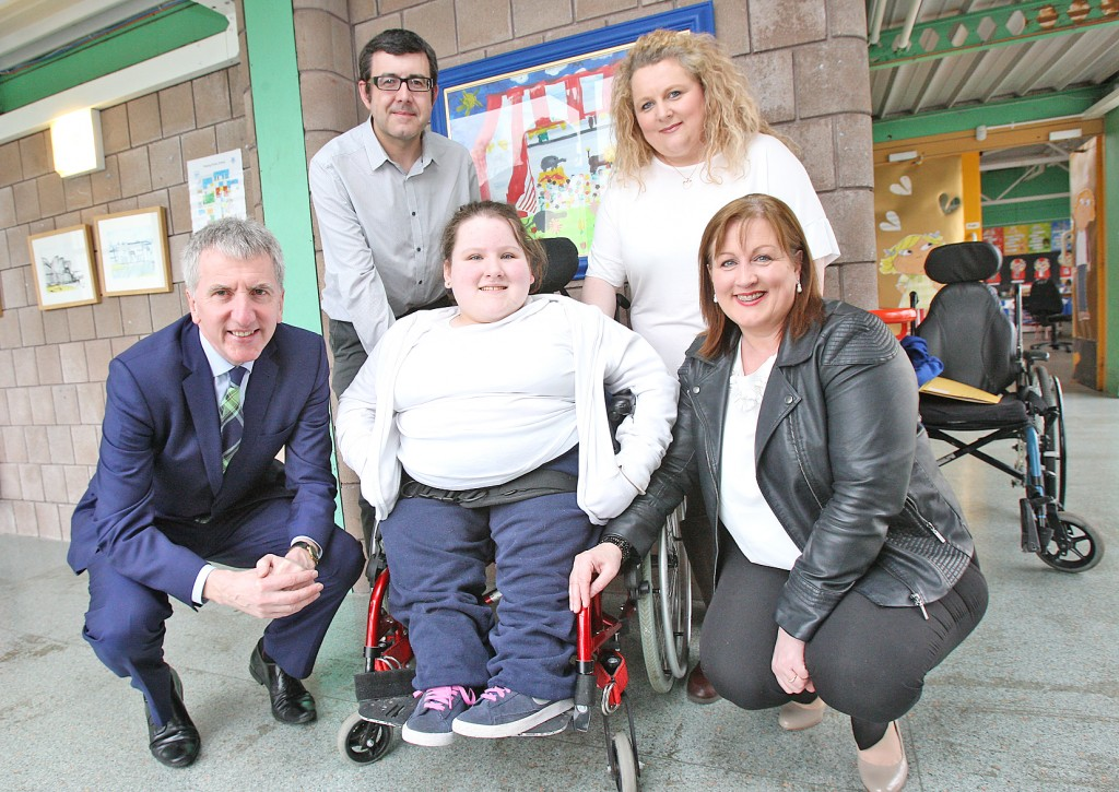 Mairtin O'Muilleoir MLA visits Fleming Fulton School to meet Marian Bradley Board of Governors Member Fleming Fulton School and Fleming Fulton pupil Hannah Black and her parents Stephen and Fionnula to help get a reliable bus service for her and other pupils of the school as the current bus is constantly breaking down with engine problems and wheelchair lift faults.