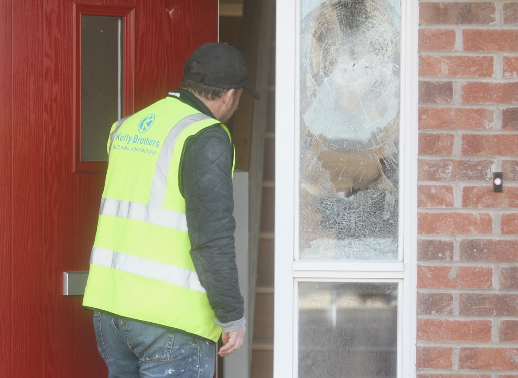 DISGRACE: One of the windows that was damaged by vandals