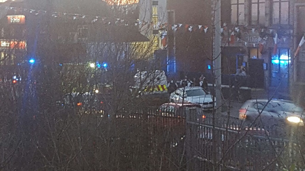 The scene of the brawl on the Andersonstown Road