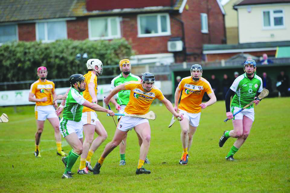 Antrim midfielder Domhnall Nugent in possession against London in Ruislip on Sunday