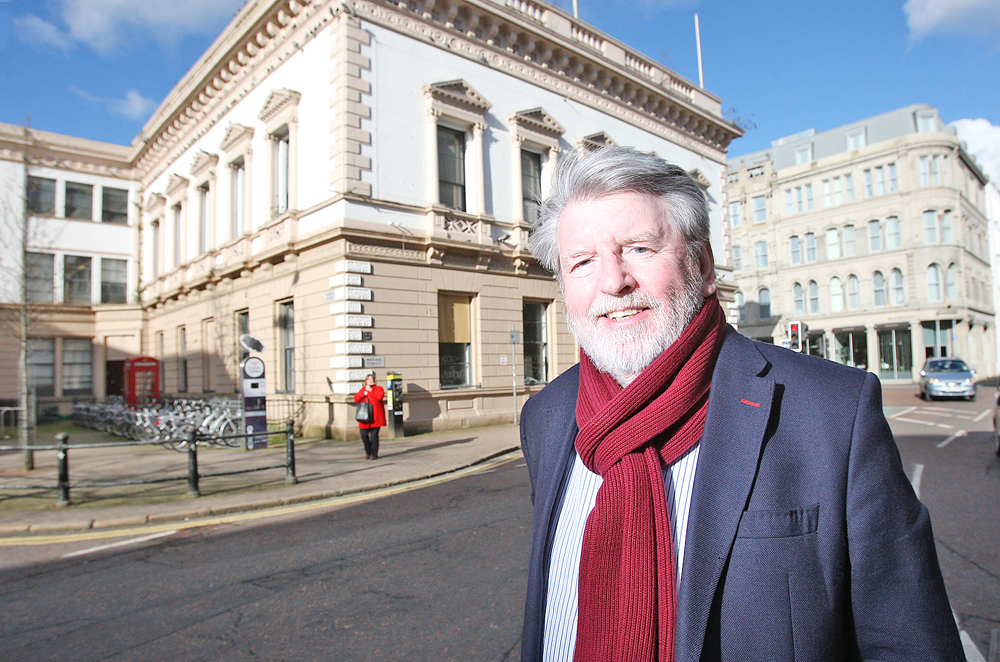 Martin Lynch outside the old Bank Building where The History of the Troubles (Accordin' to My Da) was first performed