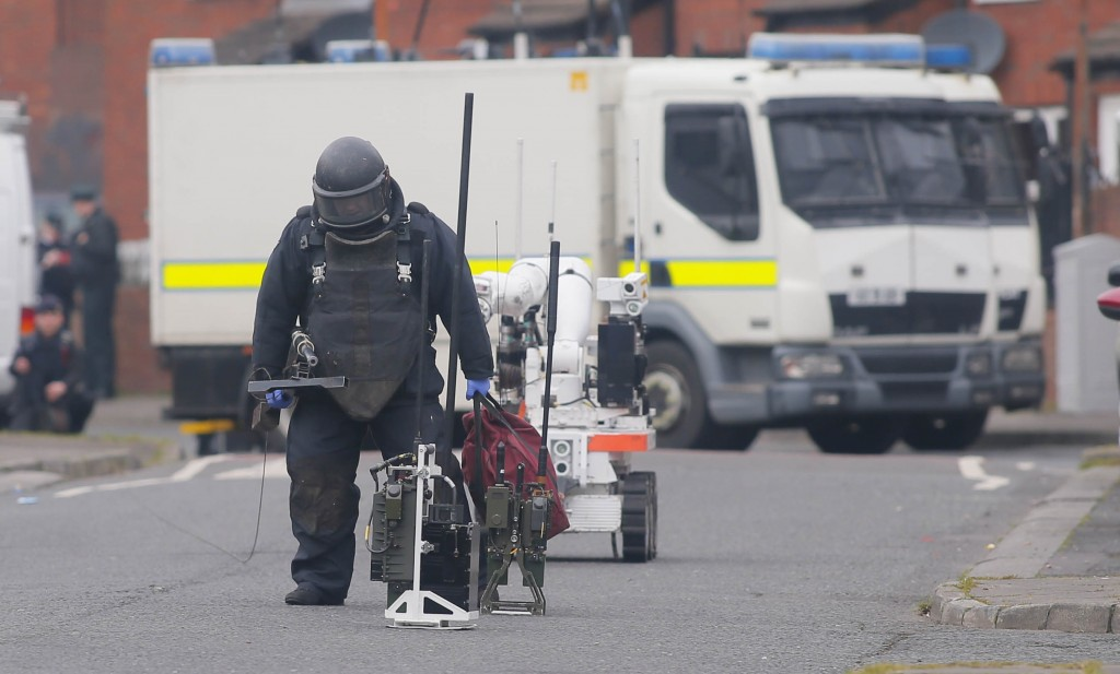 A British army technical officer at the scene of Friday's pipe bomb explosion