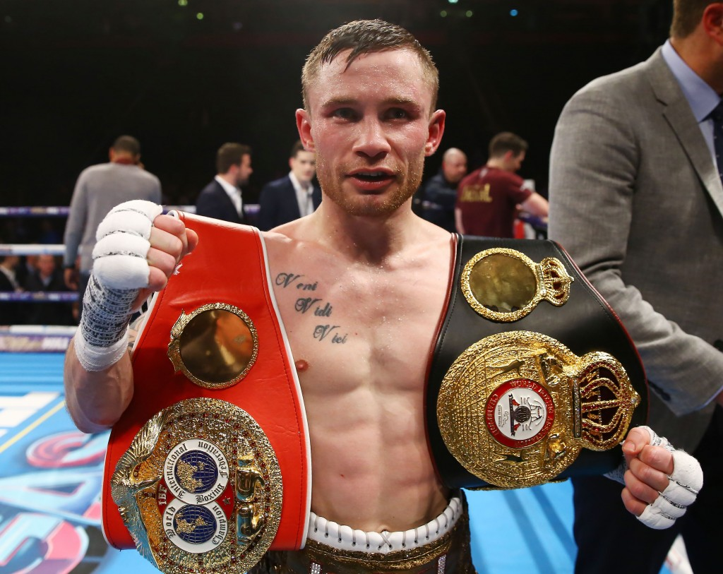 Carl Frampton looks set to relinquish his IBF and WBA super-bantamweight titles in order to move up to featherweight and challenge Leo Santa Cruz according to US broadcaster, Showtime Press Eye - Belfast -