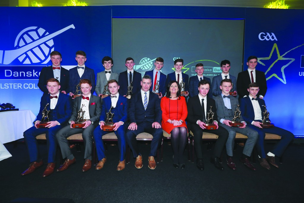 The 2016 Ulster Colleges All-Star team includes local lads Conor Carson (St Mary's, back row fourth from left), Ronan Beatty (St Mary's, back row middle), Dubaltach Mac Aoidh-Baicéir (Colaiste Feirste, back row third right) and Donal McKernan (Rathmore, front row third right)