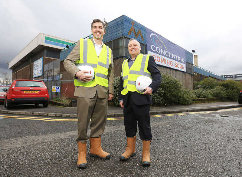 Chris Caldwell, Concentrix President, left, and Phillip Cassidy, Senior VP, at the former Maysfield Leisure Centre that's set to become 21st century office space