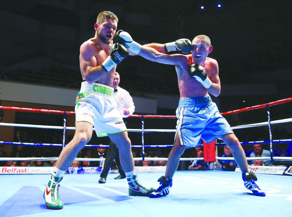 Alfredo Meli in action against Conrad Cummings when the pair fought out a thrilling draw at the Waterfront Hall in November. Photo by William Cherry
