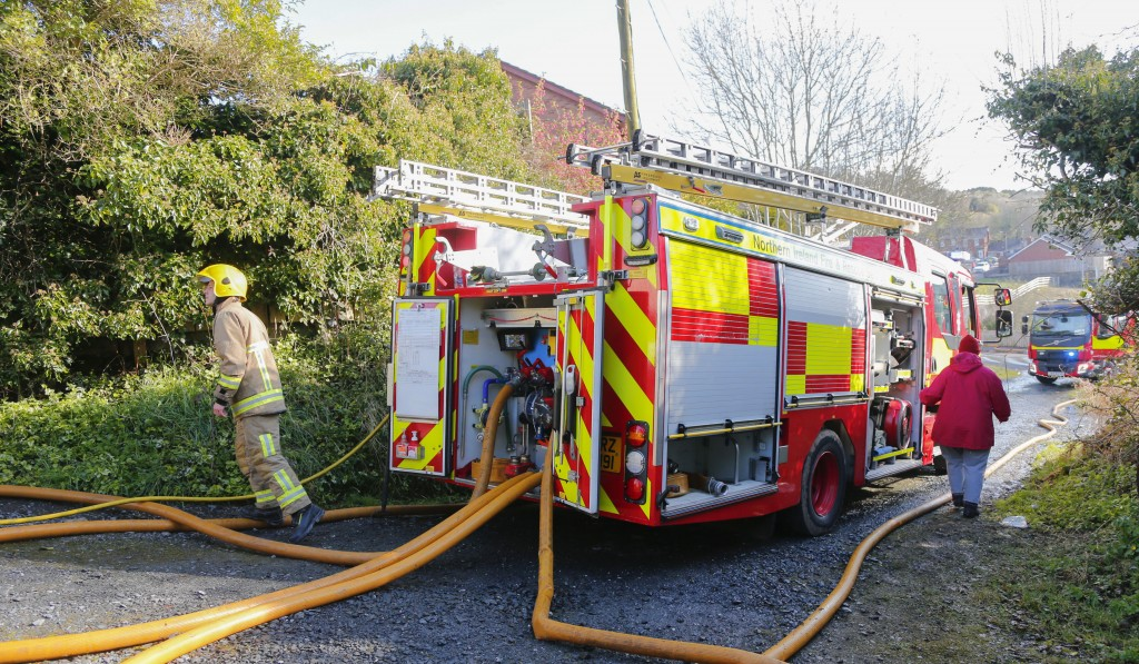 The scene of the arson attack on a property in Ligoniel