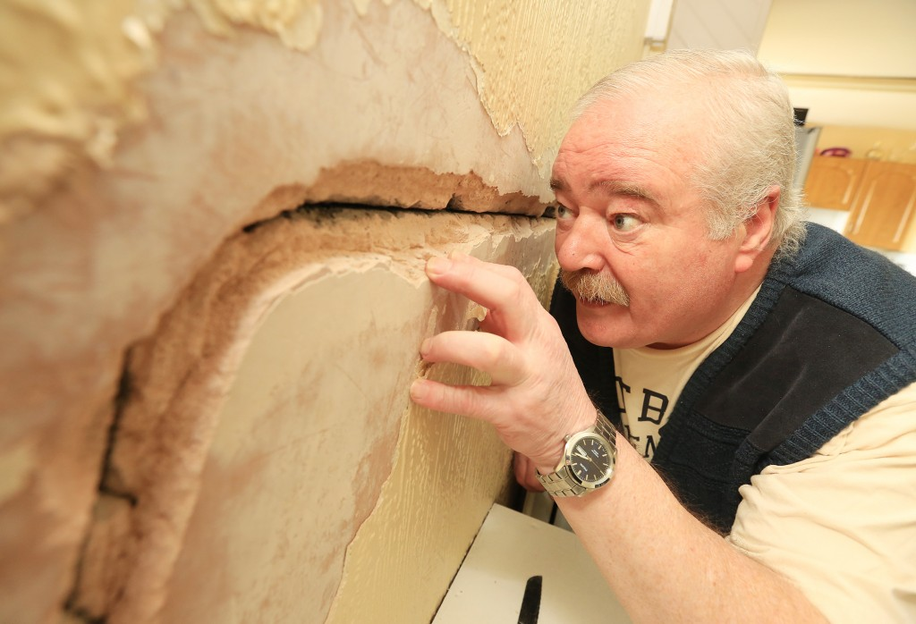 Tommy Flanagan was astonished to find this massive crack in the wall