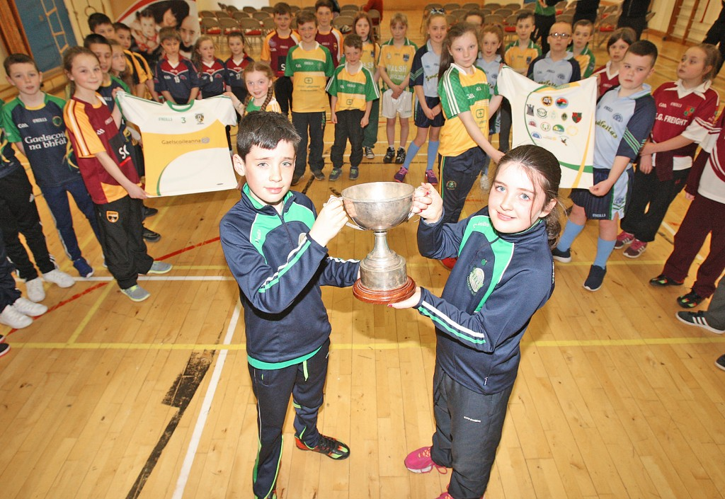 PROUD: Launch of the Liam Murray Cup in Coláiste Feirste with Liam and Amy Murray along with pupils from Irish schools who are competing in the tournament
