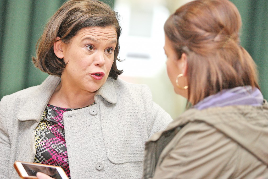 Sinn Féin Vice-President MaryLou McDonald speaking at St Mary's University College in Belfast